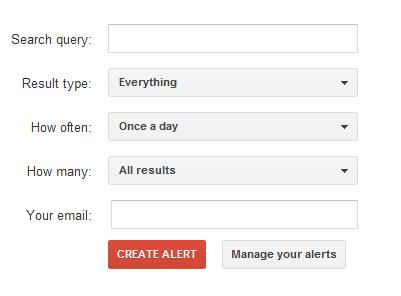 Google Alert Sign Up